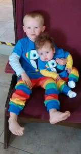 Katy's little ones wearing super cute matching Frugi outfits! :-)