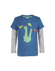Frugi Crocodile Snappy Applique Top