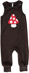 Maxomorra Mushroom Embroidered Dungarees